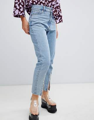 Monki Kimomo Zip Bottom Lightwash Jean