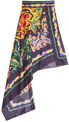 Peter Pilotto Printed Silk Asymmetric Skirt