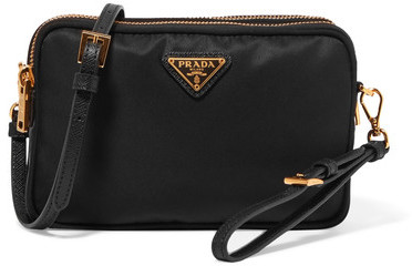 prada Prada - Leather-trimmed Shell Cosmetics Case - Black