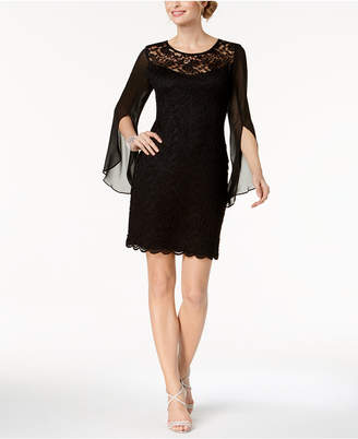 Connected Lace & Chiffon Sheath Dress