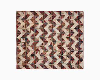 Calvin Klein log cabin vintage pieced quilt in brown multi
