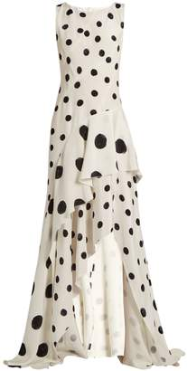 Oscar de la Renta Polka-dot print ruffled silk gown