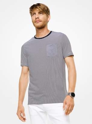Michael Kors Striped Cotton and Silk T-Shirt