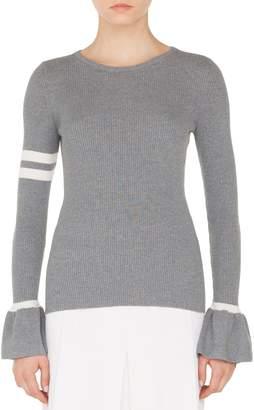 Akris Punto Stripe Wool Bell Sleeve Sweater