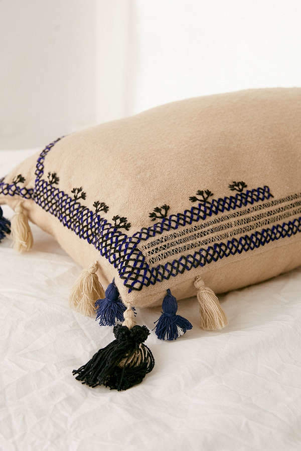 Embroidered Wool Lumbar Pillow