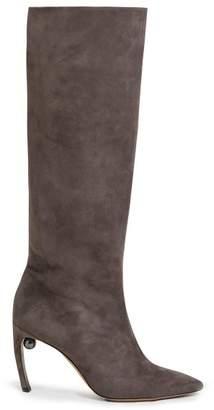 Nicholas Kirkwood Mira Pearl Heeled Suede Boots - Womens - Grey