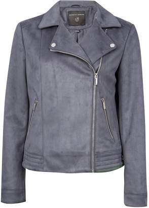 Dorothy Perkins Womens Charcoal Grey Suedette Biker Jacket