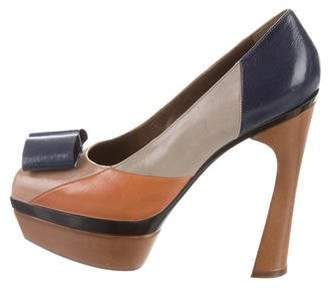 Marni Leather Peep-Toe Platform Pumps
