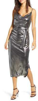 Endless Rose Cowl Neck Belted Metallic Dress