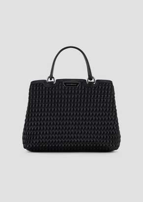 Emporio Armani Shopping Bag In Quilted Eco-Nappa With Drop Pattern