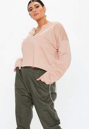 90adbceea5063 Missguided Plus Size Blush Cropped Sweatshirt