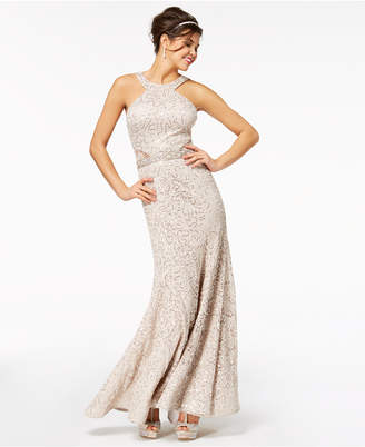 B. Darlin Juniors' Sequined Lace Halter Gown