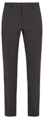 Prada - Mid Rise Slim Leg Wool And Mohair Blend Trousers - Mens - Grey