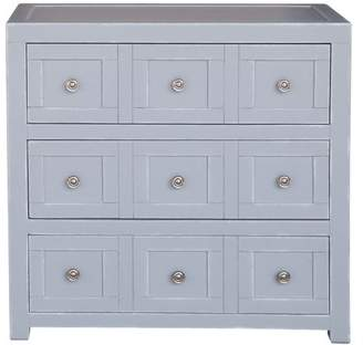 HomeFare Apothecary Style Three Drawer Accent Storage Chest with Brushed Nickel Hardware