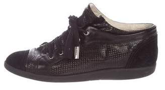 Chanel Leather Round-Toe Sneakers