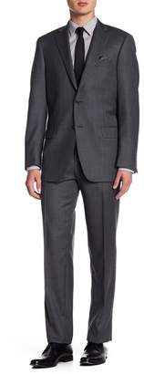 Hart Schaffner Marx Medium Grey Two Button Notch Lapel Wool New York Fit Suit