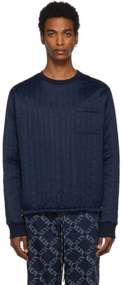 Valentino Navy Nylon Crewneck Sweater
