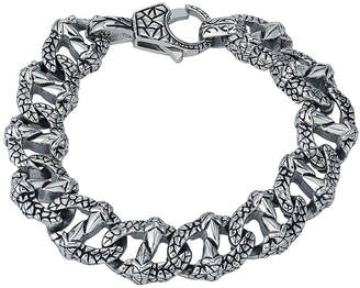 FINE JEWELRY Mens Textured Stainless Steel Chain Bracelet