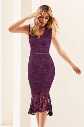 Lipsy Abbey Clancy x Lace Midi Bodycon Dress - 6 - Purple