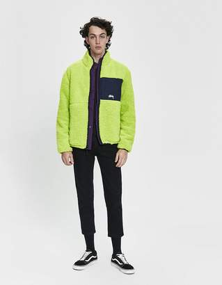 Stussy Reversible Micro Fleece Jacket in Lime