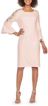 Ronni Nicole 3/4 Bell Applique Sleeve Sheath Dress