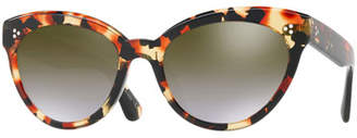Oliver Peoples Roella Mirrored Cat-Eye Sunglasses, Red Tortoise