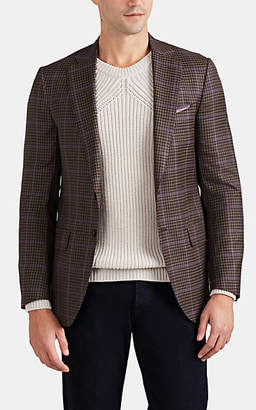 Isaia Men's Delain Select Overchecked Worsted Wool Two-Button Sportcoat - Brown