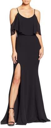 Dress the Population Diana Cold Shoulder Side Slit Gown