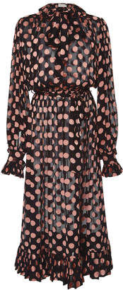 Zimmermann Pussy-Bow Polka Dot Silk-Blend Midi Dress