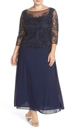 Pisarro Nights Illusion Neck Beaded A-Line Gown (Plus Size) $238 thestylecure.com