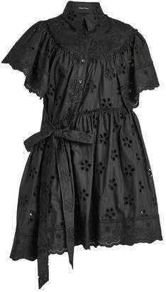Simone Rocha Asymmetric Cotton Dress with Cut-Out Pattern