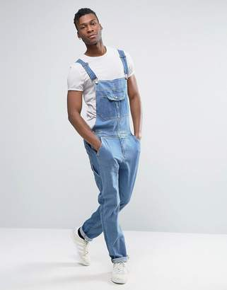 ASOS Denim Overalls With Retro Front Pocket In Mid Blue $64 thestylecure.com
