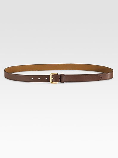 Prada Skinny Vitello Leather Belt