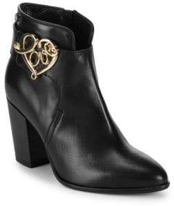 Love Moschino Stacked Heel Leather Booties