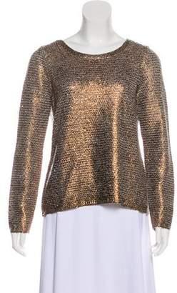 Oscar de la Renta Crew Neck Textured Sweater