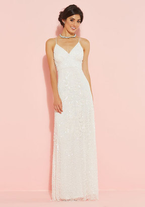Marina Here's to Glamorous Maxi Dress in White $200 thestylecure.com
