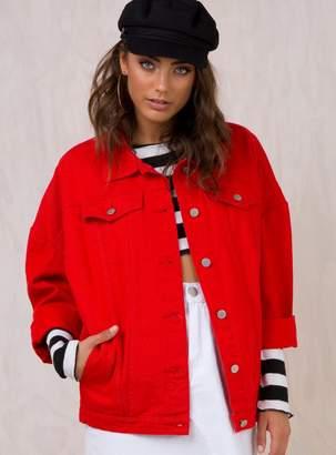 Breeze Blocks Denim Jacket Red