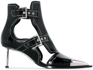 Alexander McQueen black buckle-up patent leather ankle boots