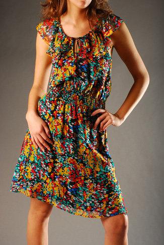 Miss Davenporte Floral Ruffle Dress