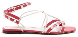 Valentino Free Rockstud Leather Sandals - Womens - Pink White