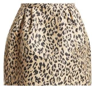 Valentino Leopard Print Brocade Skirt - Womens - Leopard