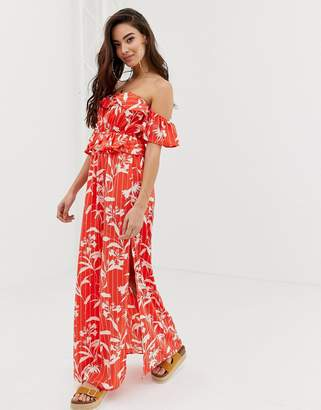dc4ad745f524 Bardot Asos Design ASOS DESIGN beach maxi dress with ruffles in flamenco  floral stripe print
