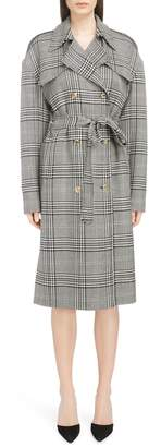 Magda Butrym Checked Double Breasted Wool Coat