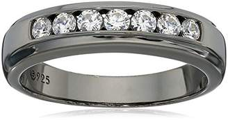 Swarovski Men's Black Rhodium-Plated Sterling Silver Zirconia 7-Stone Round-Cut Band Ring