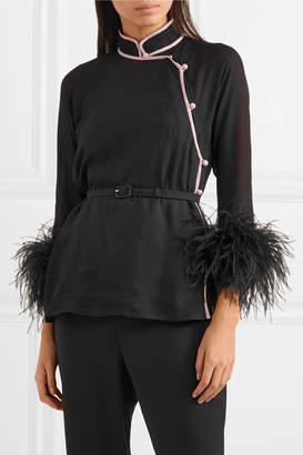 Prada Feather-trimmed Silk-crepon Top - Black