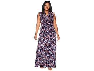 MICHAEL Michael Kors Size Scatter Blooms Slit Maxi Dress