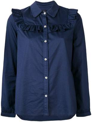 A.P.C. ruffle bib checked shirt