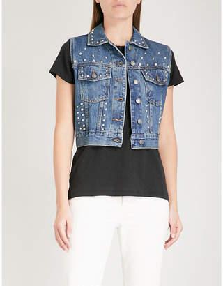 The Kooples Stud-embellished sleeveless denim jacket