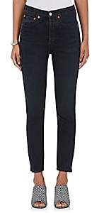 RE/DONE Women's High Rise Ankle Zip Skinny Jeans-Black