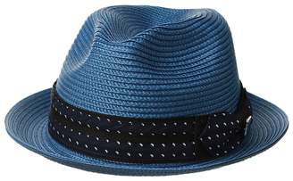 Stacy Adams Poly Braid Pinch Front Fedora with Fancy Bow Caps